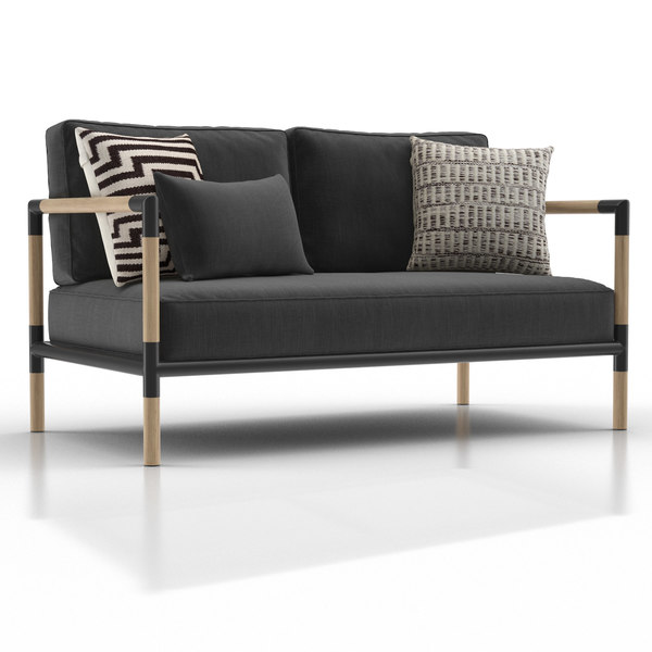 3D barra teak metal sofa