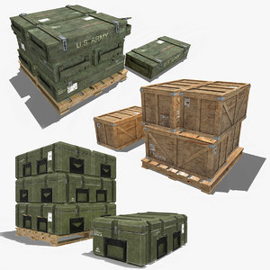 3D model military crate pack contain