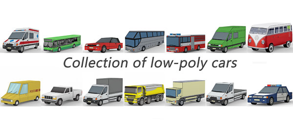 3D low-poly cars model