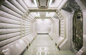 sci fi corridor white model
