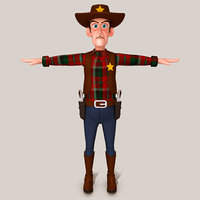cowboy cartoon character 3D model