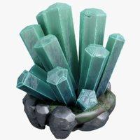 3D realistic crystal rock green