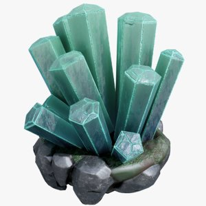 3D realistic crystal rock green