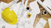 artchitectural scene includes contruction helment tape measure