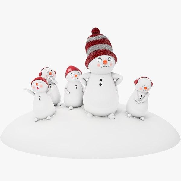 souvenir family figurine snowman 3D model