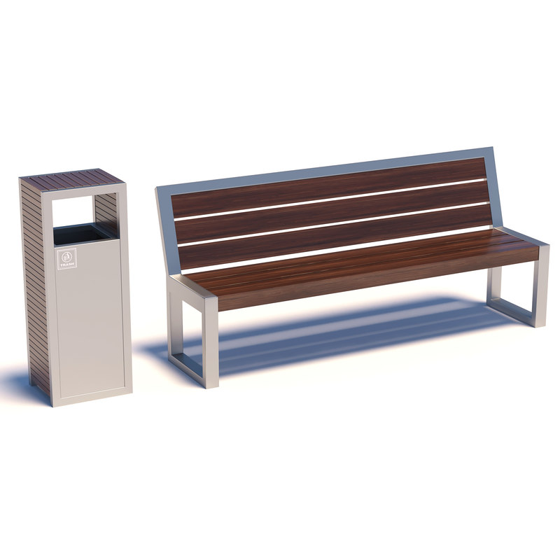 Street bench with trashcan