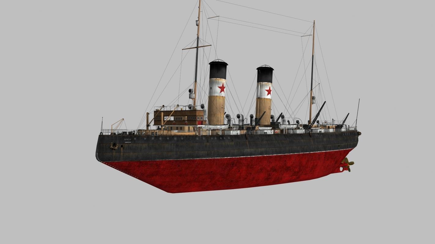 krasin icebreaker 1916 sea ship 3D model