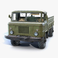 3D soviet flatbed gaz-66 model