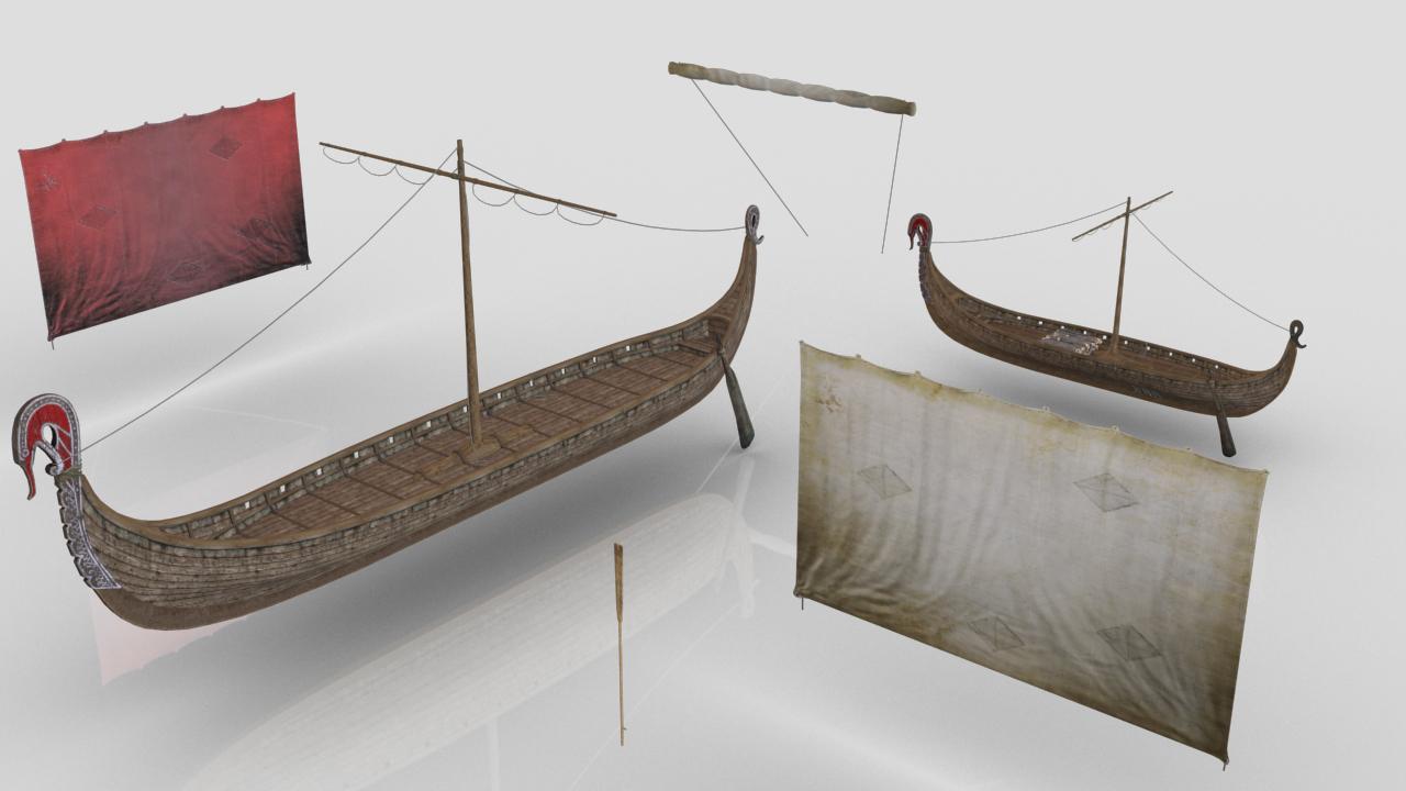 3D viking drakkars
