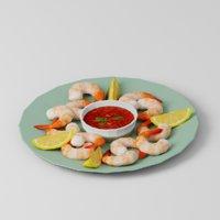 3D shrimp seafood food model