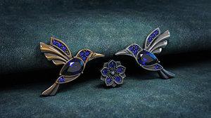 3D jewelry insert decoration hummingbird