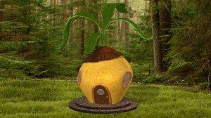 3D cartoon turnip house