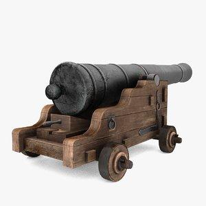 3D model naval cannon