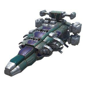 3D model spaceships heavy missile corvette