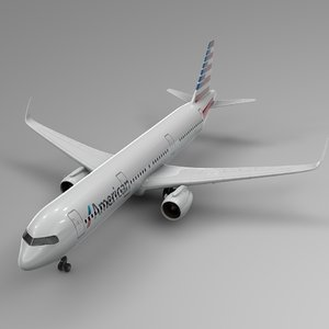 3D airbus 321 neo american airlines model