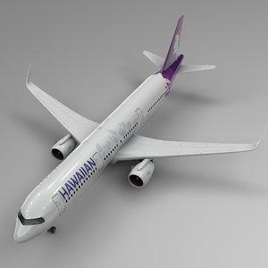 3D airbus a321 neo hawaiian model