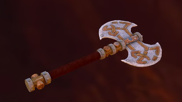 3D dwarven battle axe