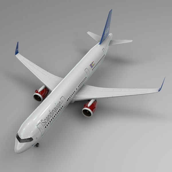 3D airbus a321 neo scandinavian model