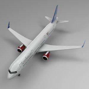 3D airbus a321 neo scandinavian model