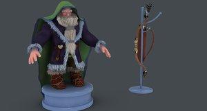 3D dwarf bow arrows model