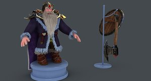 dwarf shield axe 3D