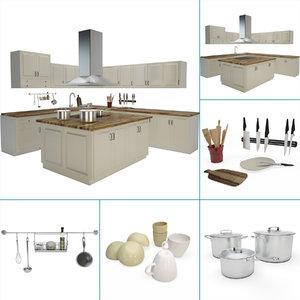 kitchen utensils central island 3D model