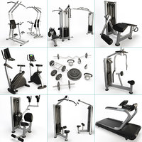 3D sport machine set fitness gym model
