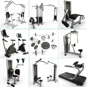 3D sport machine set fitness gym model