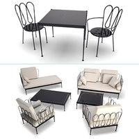 fleurs metallic outdoor furniture 3D model