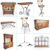 3D set wooden furniture wood