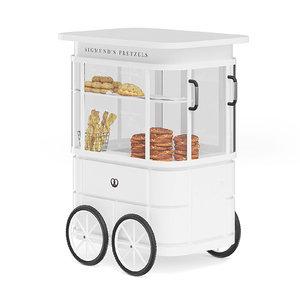 3D white pretzel stall model