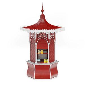 wooden red kiosk 3D