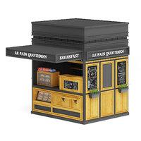 black breakfast kiosk 3D model