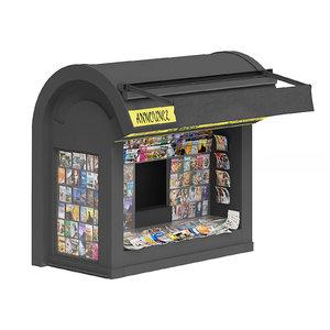 3D black newspaper kiosk