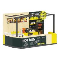 3D black hot dog stand