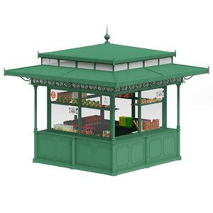 green standard kiosk 3D model