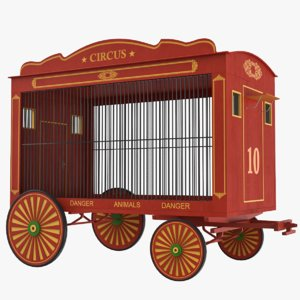 3D traveling circus wagon