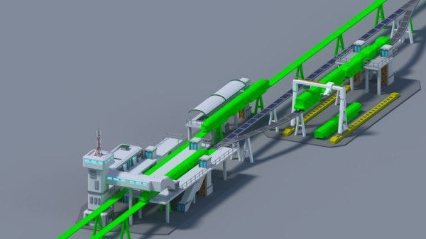 maglev train station low-poly model