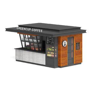 black coffee kiosk 3D model