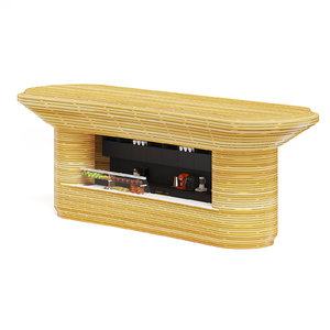 rounded wooden stand 3D model