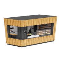 wooden coffee kiosk 3D model