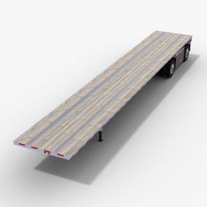 3D flatbed semi-trailer v2 trailer truck model