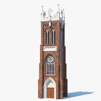 3D ancient brick tower medieval model