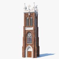 3D ancient brick tower medieval model