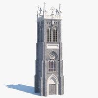 3D model old brick tower