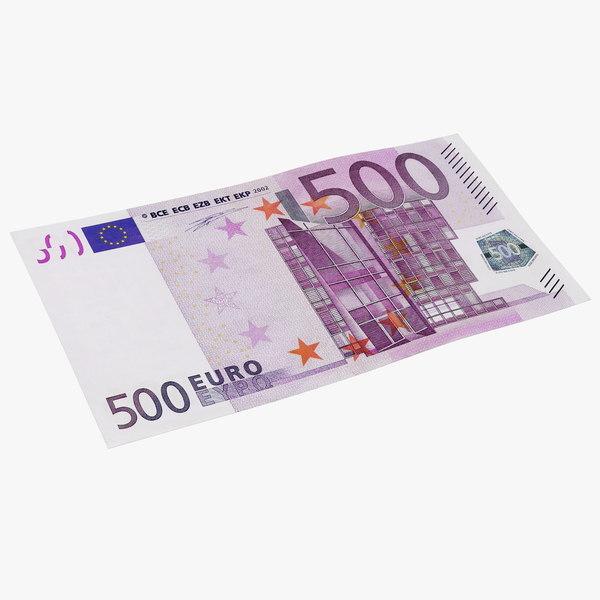 3D 500 euro banknote model