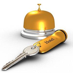 hotel bell key 3D model