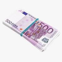 3D 500 euro banknotes bills model