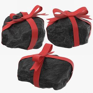 3D lumps coal ribbons model