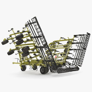 3D model seedbed cultivator rigged